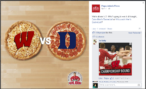 papa john's facebook current event post