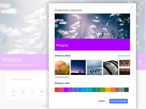 google+ collection custom features