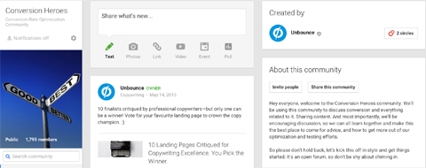 features google+ community creator