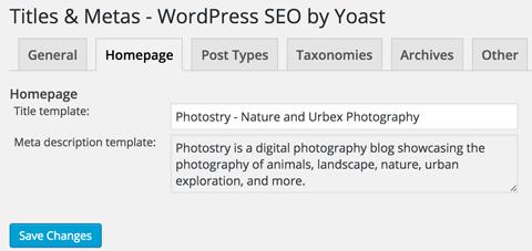 wordpress seo homepage title and meta