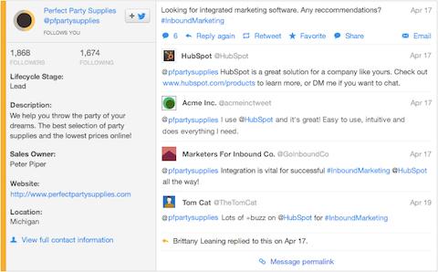 customized social feeds in hubspot