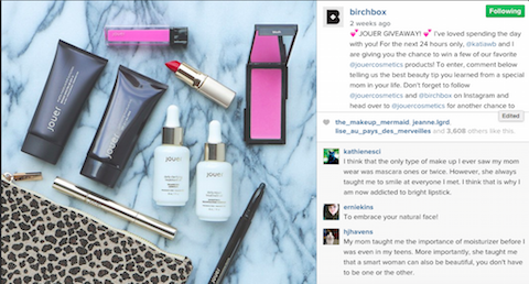birchbox giveaway instagram post