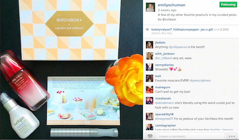 emily schuman birchbox instagram post