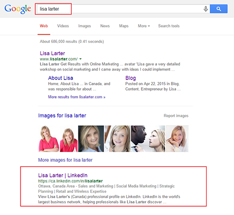 public profile in google search results