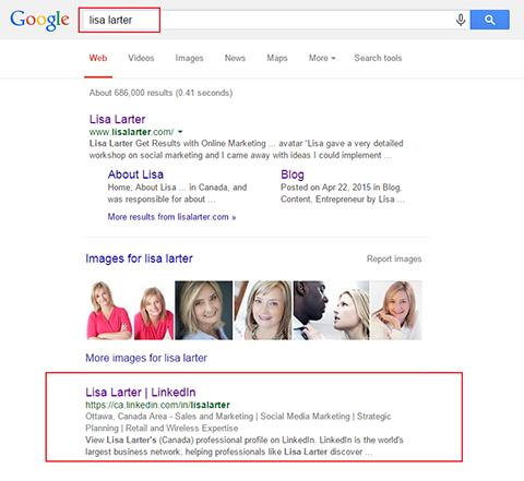 public profile in google search results