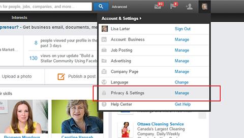 accessing public profile settings