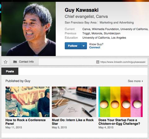 guy kawasaki on linkedin publisher