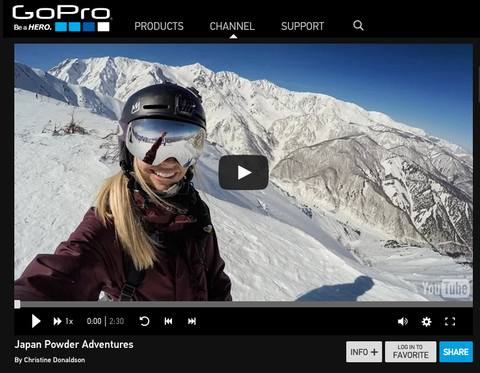 embedded video on gopro website