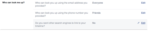 facebook profile search setting