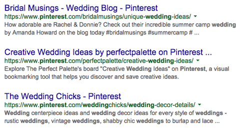 pinterest profiles in google search results