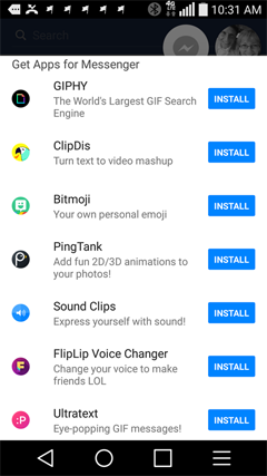add feature apps to facebook messenger