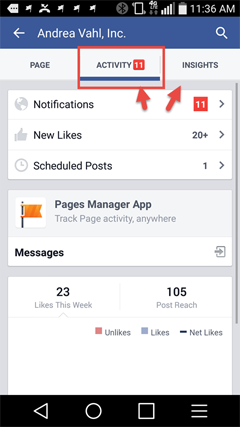 view page notifications from the facebook app