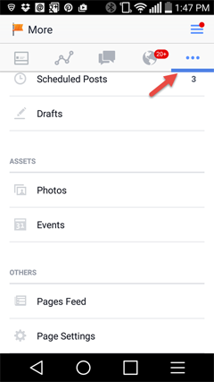 view scheduled activity, events and news feed from the facebook app