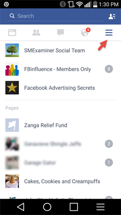 access pages from the facebook app