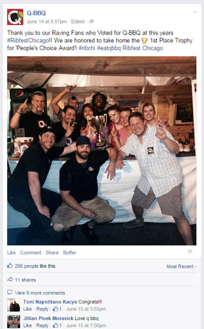 facebook page post featuring fans