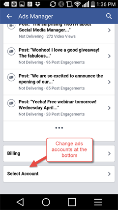 choosing an account from within ads manager