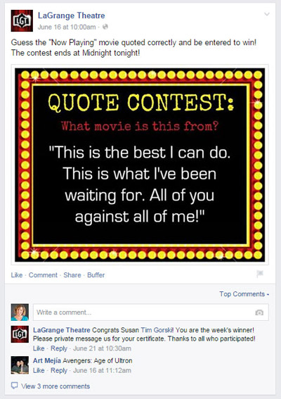 facebook page quote contest
