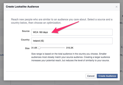 creating facebook lookalike audience
