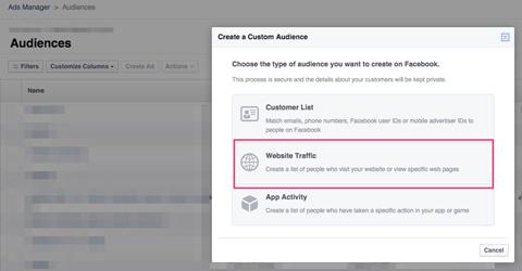 creating facebook custom audience of website visitors