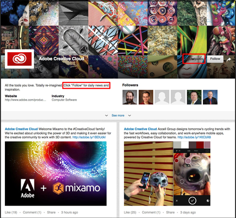 adobe creative cloud linkedin showcase page