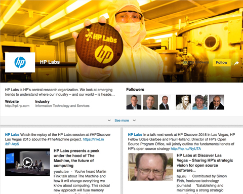 hp linkedin showcase page