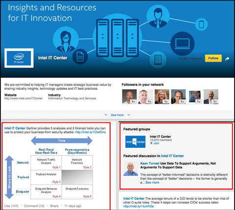 intel it center linkedin showcase page
