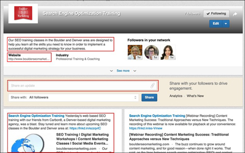 optimize the description and website url for a linkedin showcase page