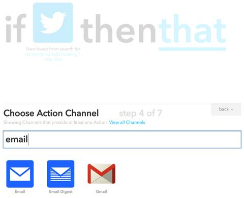 choose an ifttt action channel