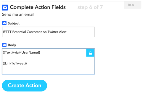 completing an ifttt action channel