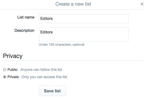 creating a new twitter list