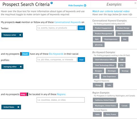 socedo prospect search criteria