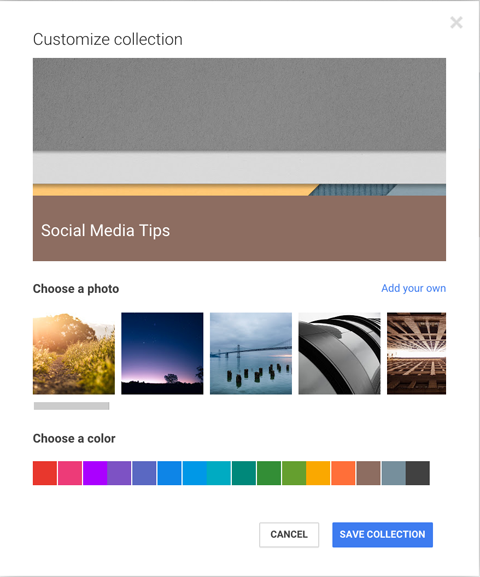 customize google+ collection