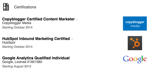 linkedin certifications section