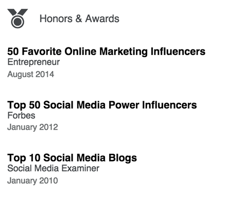 linkedin honors & awards section