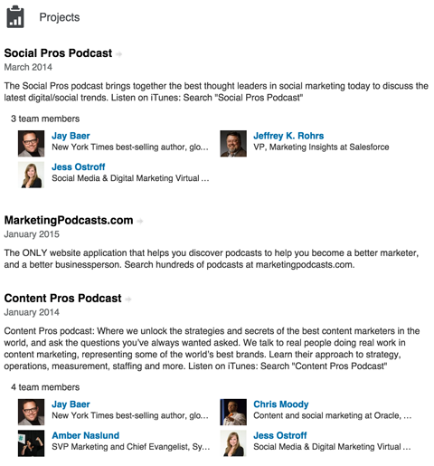 linkedin projects section