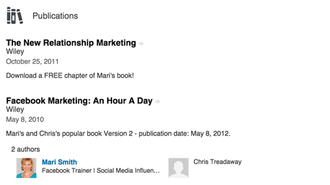 linkedin publications section
