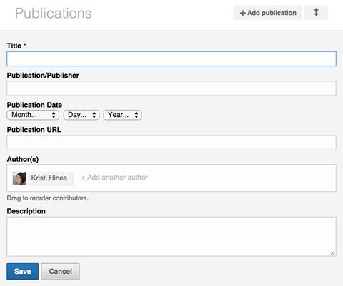 linkedin publication section details