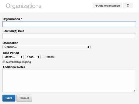 linkedin organization section details