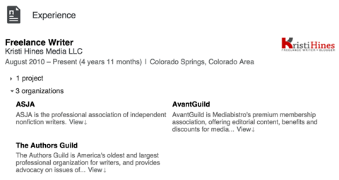 linkedin experience section details