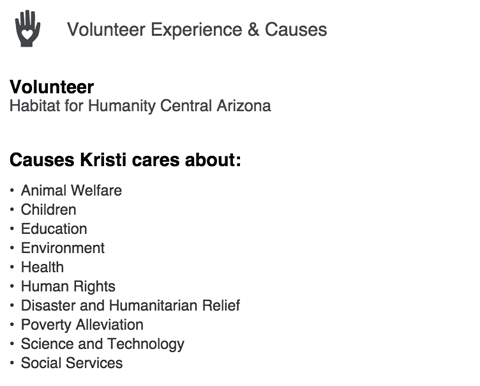 linkedin volunteer experience & causes section
