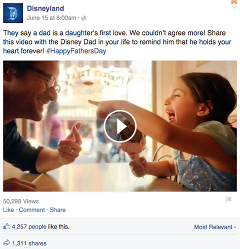 disneyland fathers day facebook post