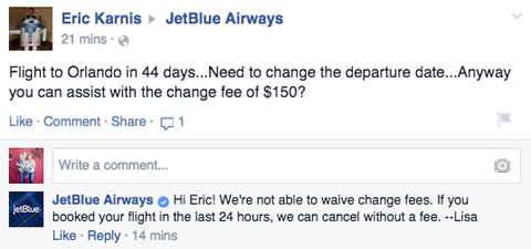jetblue response to customer post