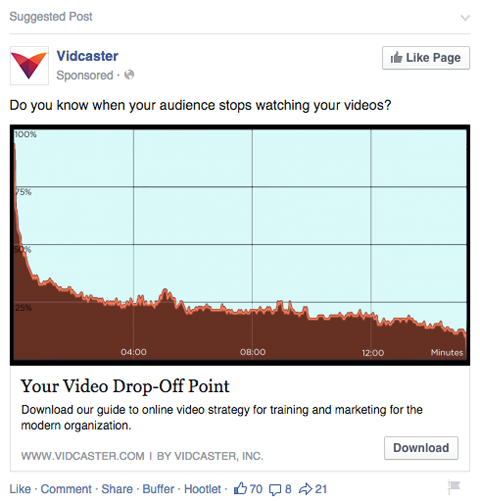 facebook ad with content download