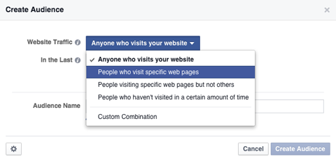 select people who visit specific pages