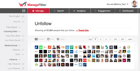 manageflitter display