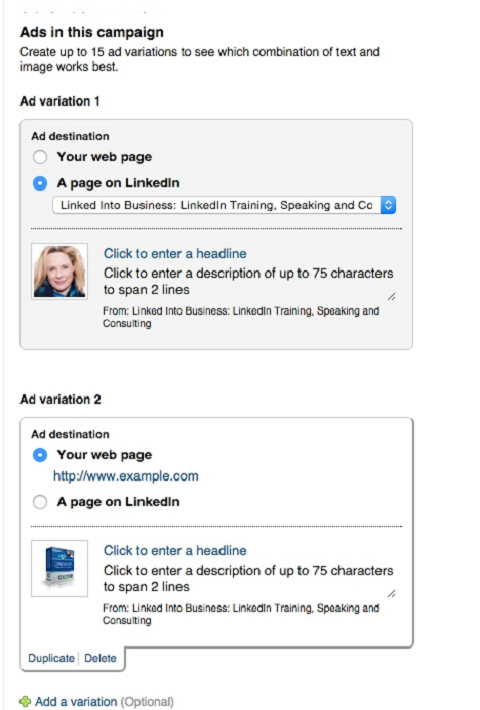 creating linkedin ad variations