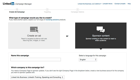 choosing sponsored content in campaign manager