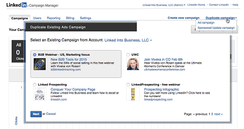 duplicating a linkedin campaign