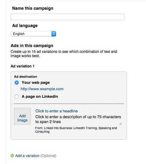 creating a linkedin text ad