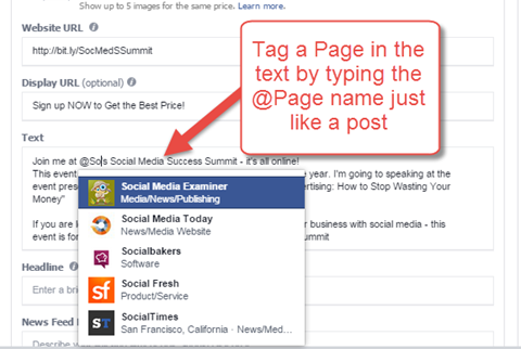 tagging pages in an ad